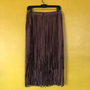 Boston Proper Skirts - NWT BOSTON PROPER Faux Suede Fringe Skirt Cognac